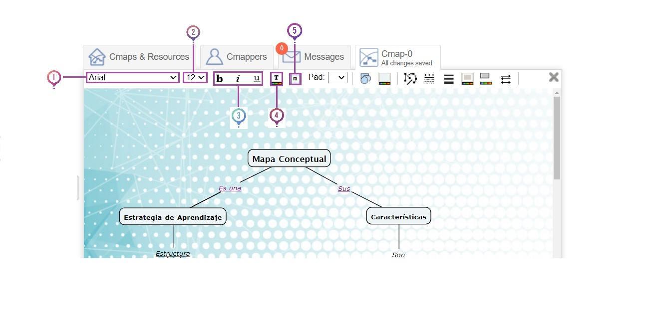Editar fuente CmapTools Online