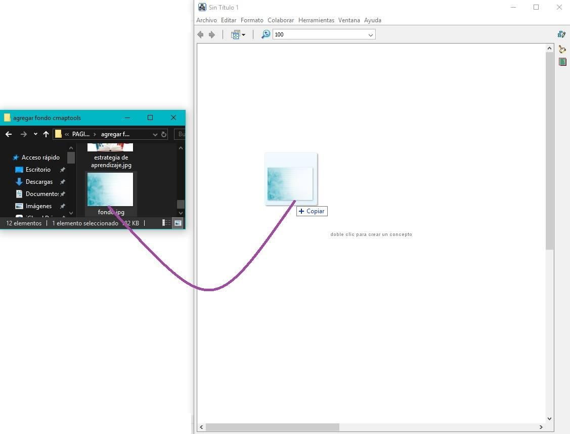 Arrastrar imagen en CmapTools - añadir fondo en CmapTools
