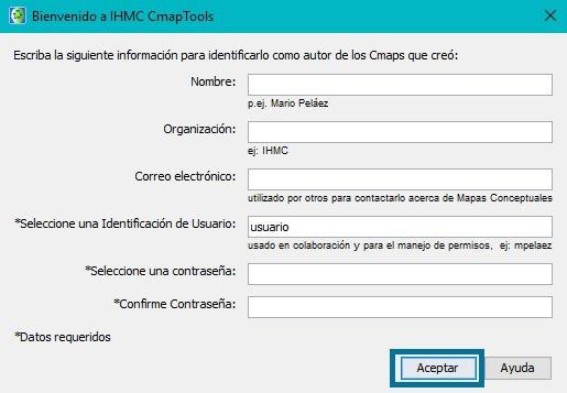 Inicio de sesión Cmaptools Windows