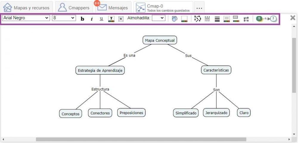 Barra de herramientas CmapTools Online