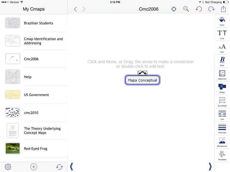 Agregar un concepto en CmapTools para Ipad