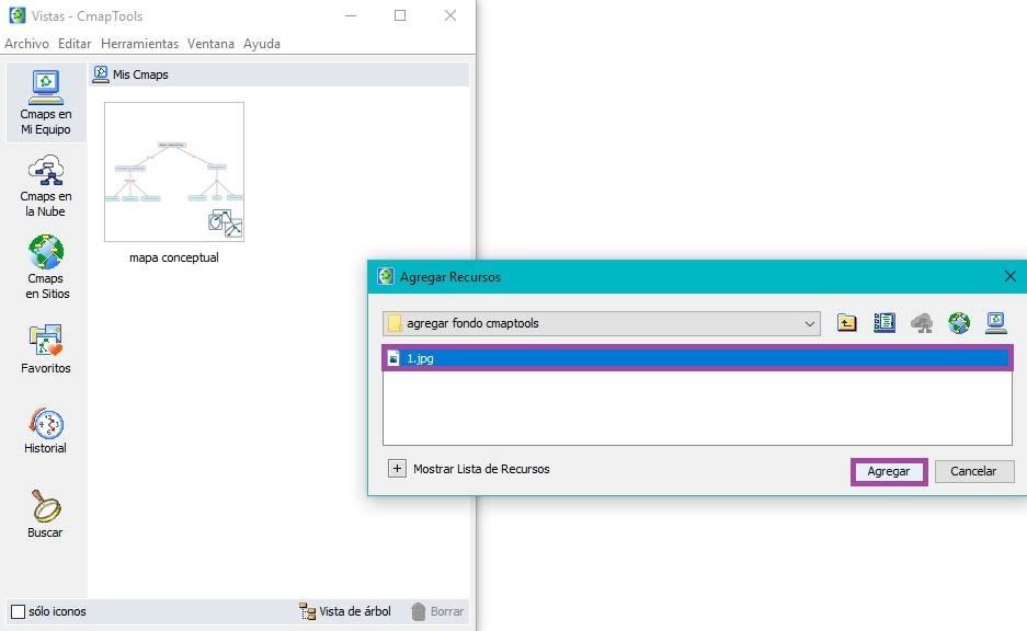 Seleccionar archivo para añadir en CmapTools - añadir fondo en CmapTools