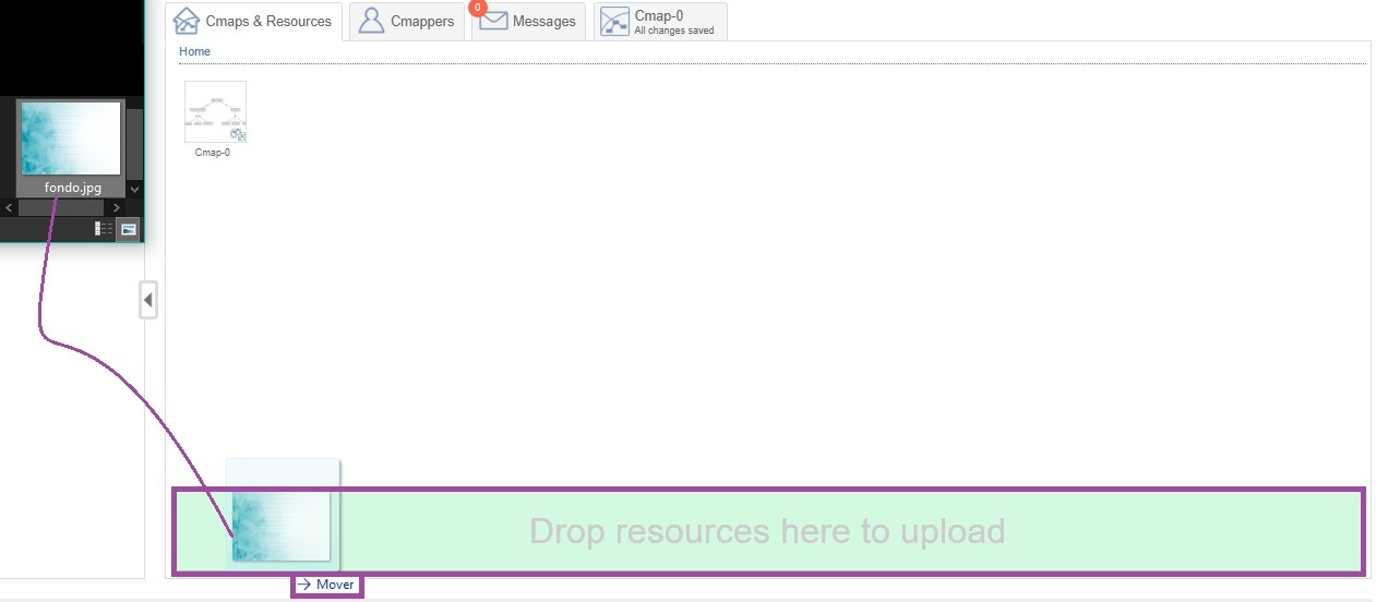 Arrastrando Recurso en CmapTools Online