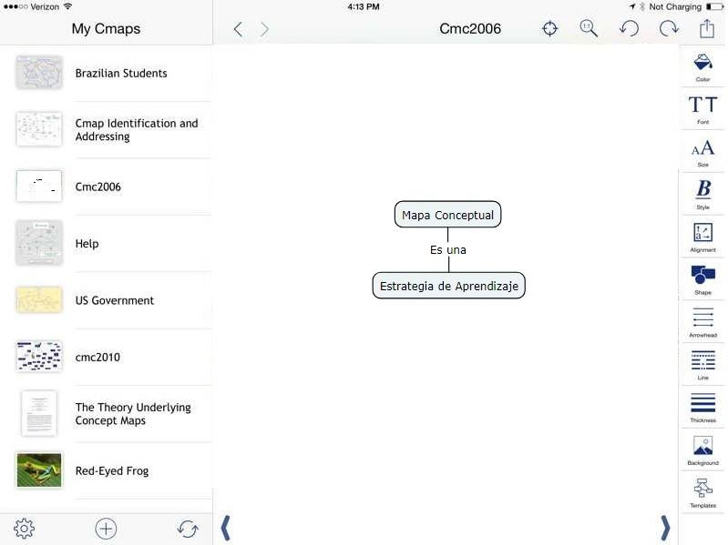 Creando mapa conceptual en ipad