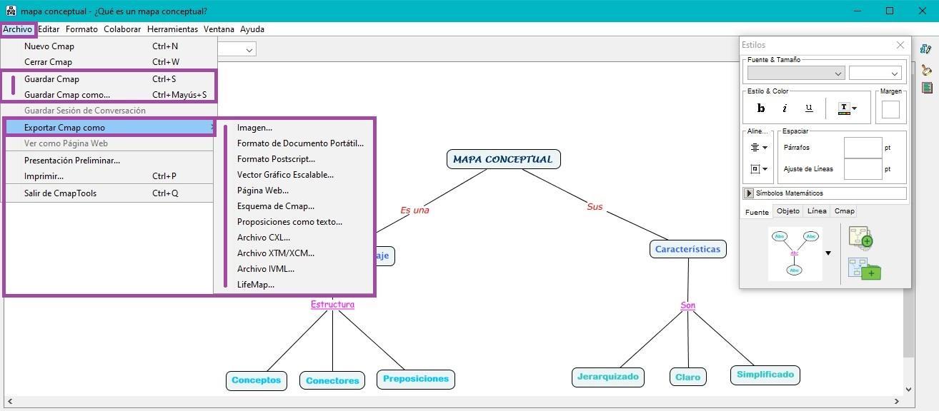 Exportar Mapa Conceptual en CmapTools